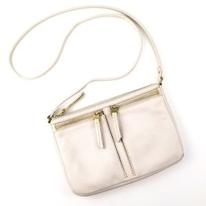 Fossil Cream Colored Leather Crossbody Bag